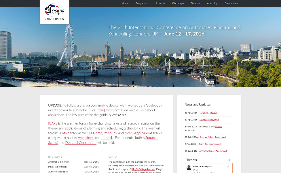 Website of ICAPS 2016