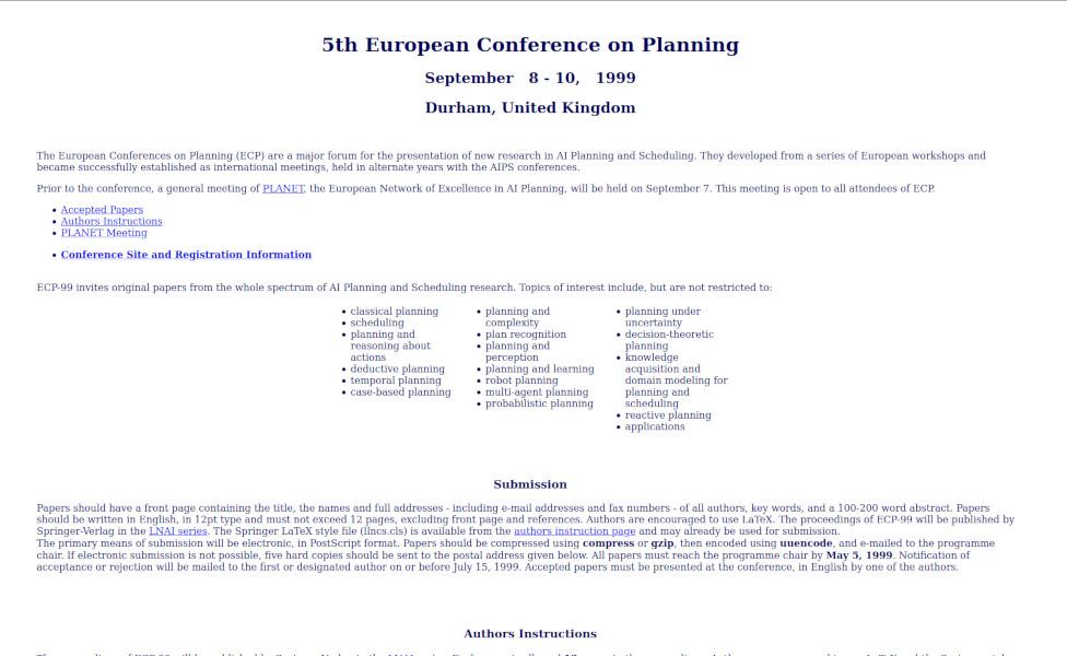 Website of ECP 1999