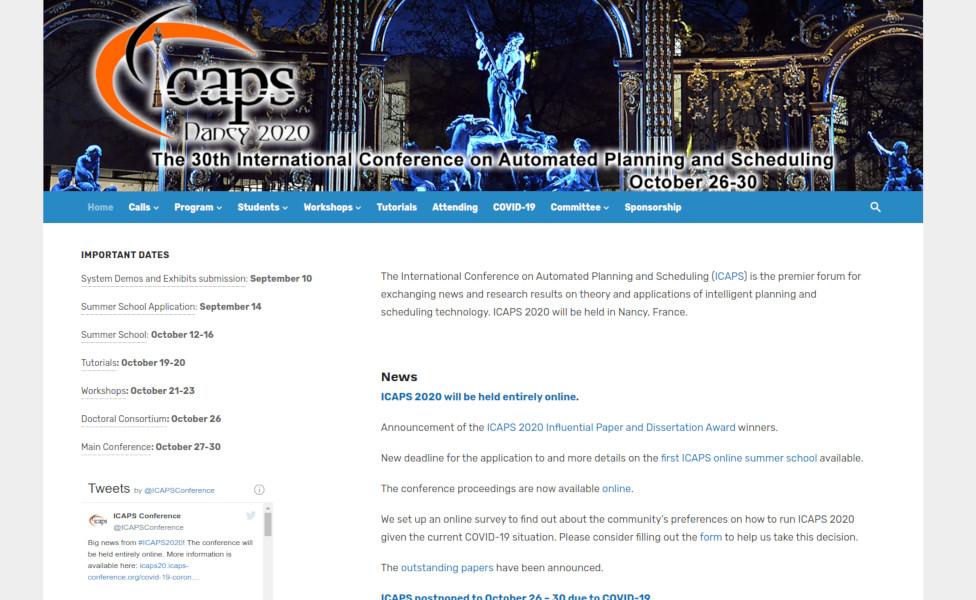Website of ICAPS 2020