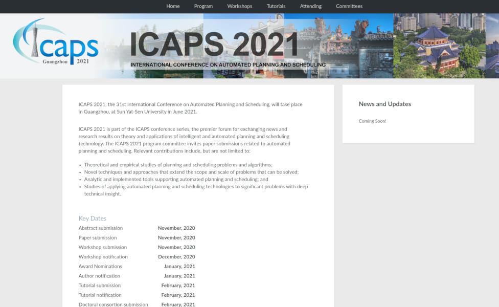 Website of ICAPS 2021